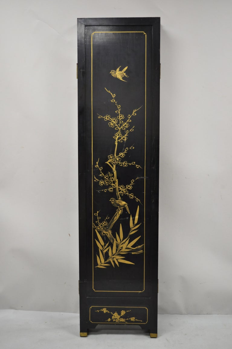 Chinese Black Carved Soapstone Geisha Girl 4 Panel Folding Screen Room Divider For Sale 5
