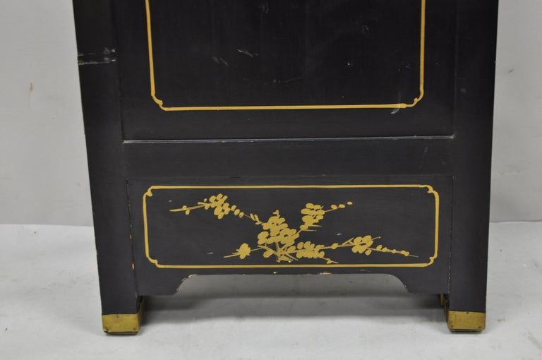 Chinese Black Carved Soapstone Geisha Girl 4 Panel Folding Screen Room Divider For Sale 6