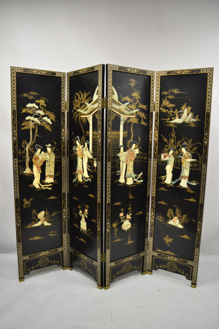 Chinese Black Carved Soapstone Geisha Girl 4 Panel Folding Screen Room Divider For Sale 7