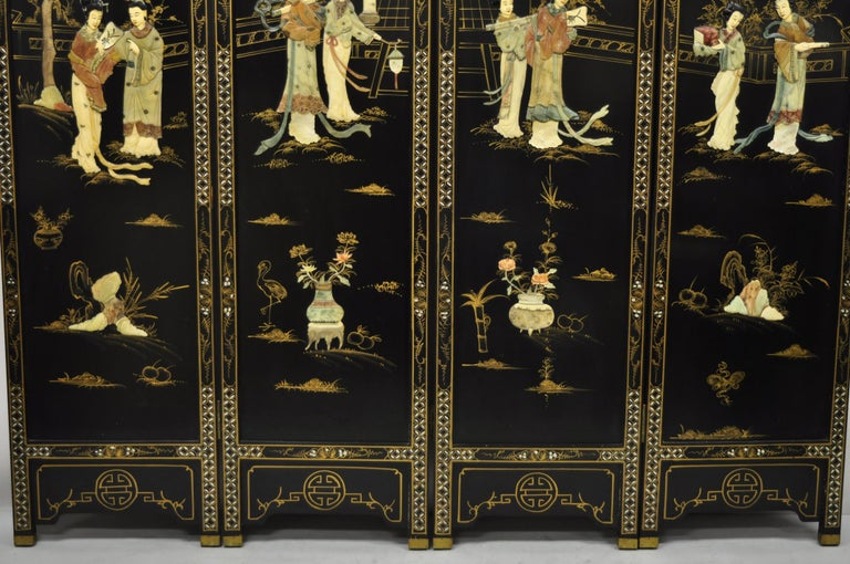 Chinoiserie Chinese Black Carved Soapstone Geisha Girl 4 Panel Folding Screen Room Divider For Sale