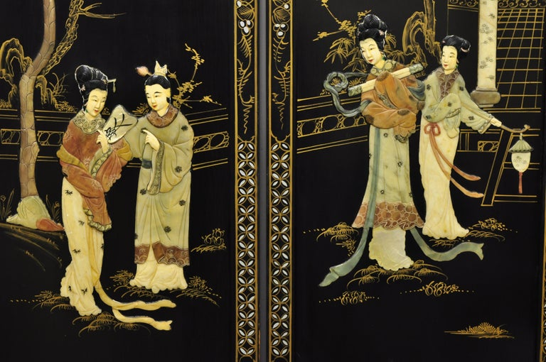 Chinese Black Carved Soapstone Geisha Girl 4 Panel Folding Screen Room Divider In Good Condition For Sale In Philadelphia, PA