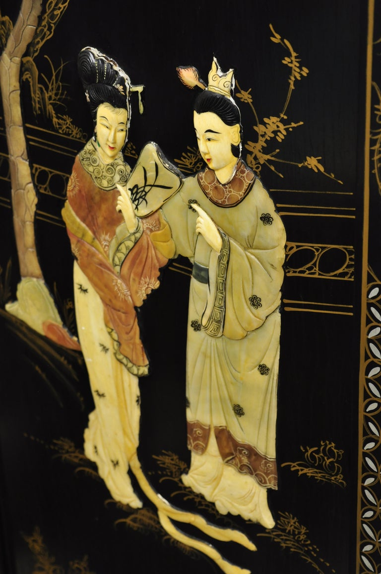 20th Century Chinese Black Carved Soapstone Geisha Girl 4 Panel Folding Screen Room Divider For Sale