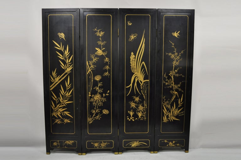 Chinese Black Carved Soapstone Geisha Girl 4 Panel Folding Screen Room Divider For Sale 2
