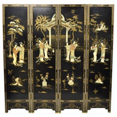 Chinese Black Carved Soapstone Geisha Girl 4 Panel Folding Screen Room Divider