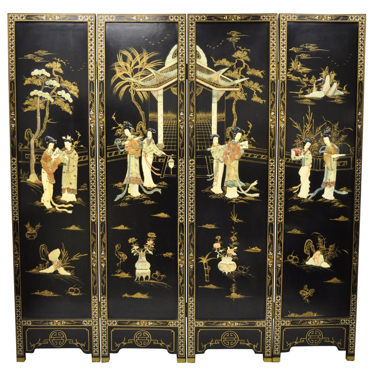 Chinese Black Carved Soapstone Geisha Girl 4 Panel Folding Screen Room Divider For Sale