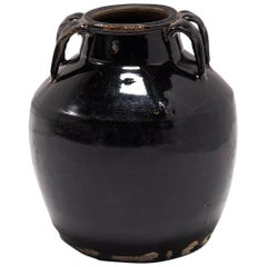 Chinese Black Glazed Soy Vessel