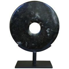 Chinese Black Jade Disc Sculpture on Stand, 20th Century