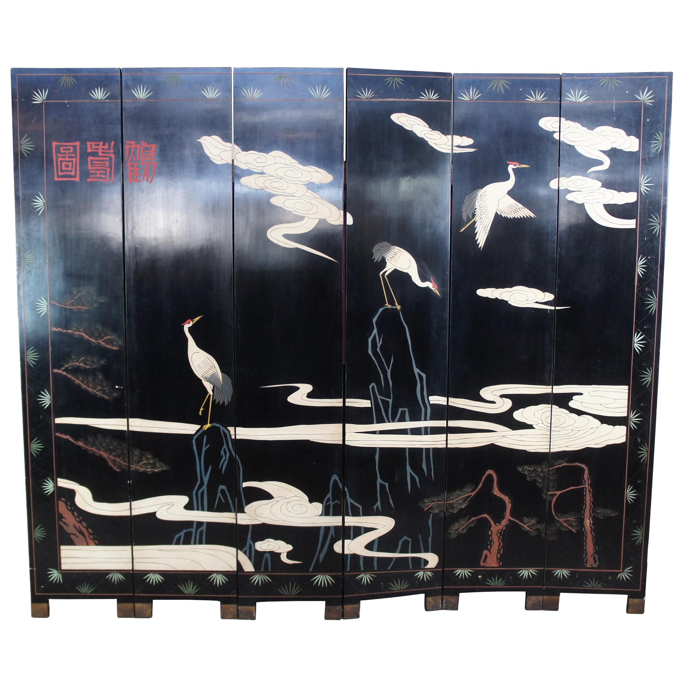 Chinese Black Lacquer 6 Panel Coromandel Folding Screen Room Divider Cranes Gods