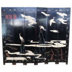 Chinese Black Lacquer 6 Panel Coromandel Folding Screen Room Divider Cranes Gods