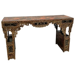 Chinese Black Lacquer and Gilt Painted Console, Qing Dynasty, 19th Century