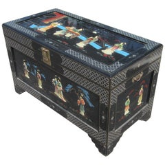 Chinese Black Lacquer Camphor Wood Chest