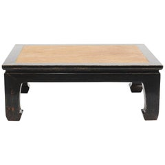 Chinese Black Lacquer Coffee Table with bamboo wicker Inlaid