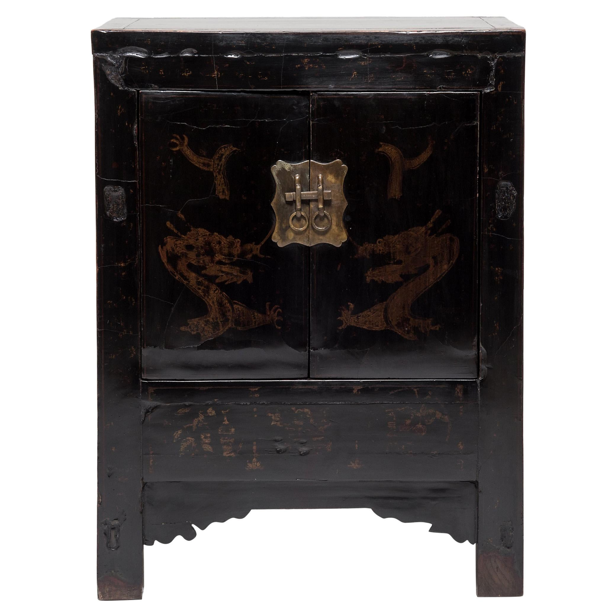 Chinese Black Lacquer Dragon Cabinet, c. 1850