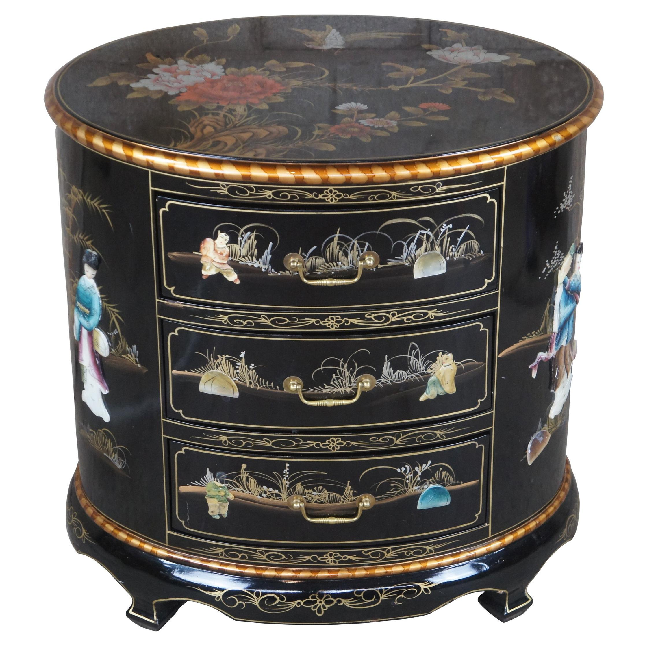 Chinese Black Lacquer Oval Three Drawer Chest End Table Soapstone Chinoiserie