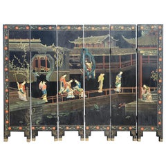 Chinese Black Lacquer Polychrome Six-Panel Screen or Room Divider