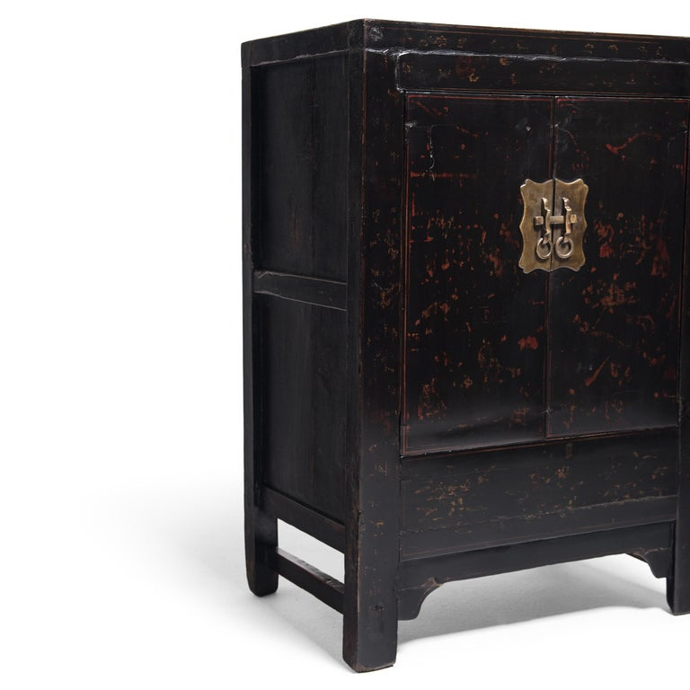 Elm Chinese Black Lacquer Side Cabinet, c. 1850 For Sale