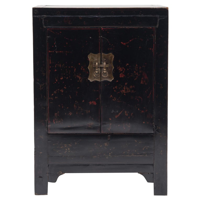 Chinese Black Lacquer Side Cabinet, c. 1850 For Sale