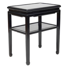 Chinese Black Lacquer Side Table with Shelf, circa 1920