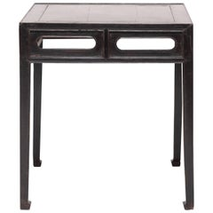 Chinese Black Lacquer Square Table with Hoof Feet