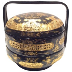 Chinese Black Lacquer Stacking Lunch Box