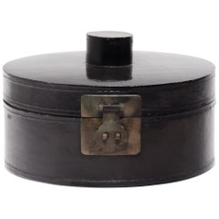 Chinese Black Lacquer Winter Hat Box, circa 1850