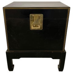 Chinese Black Leather Trunk on Stand with Brass Lock and Handles, 20th Century