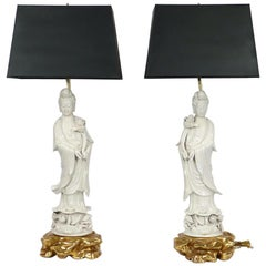 Chinese Blanc De Chine Porcelain Guanyin Table Lamps