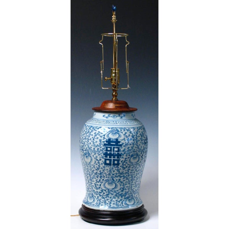 Chinese Blue and White Baluster Vase Table Lamp  In Good Condition For Sale In New York, NY