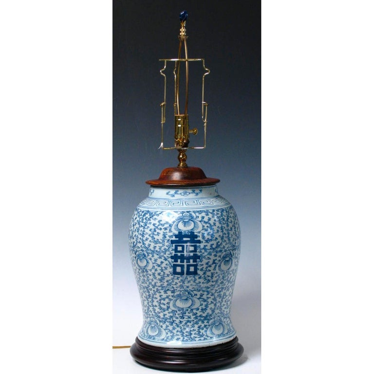 19th Century Chinese Blue and White Baluster Vase Table Lamp  For Sale