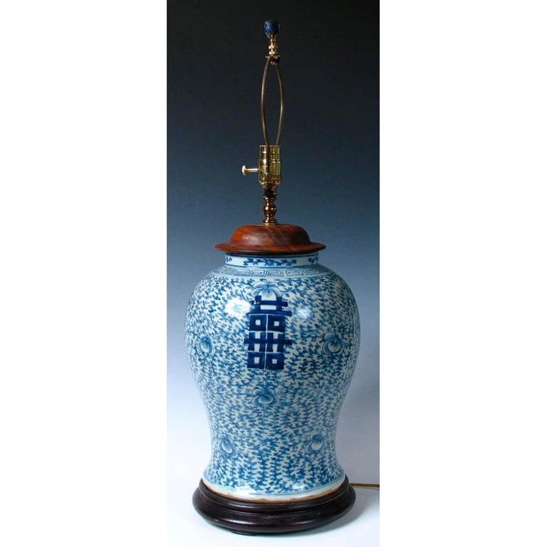 Ceramic Chinese Blue and White Baluster Vase Table Lamp For Sale
