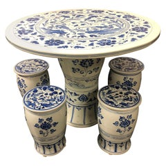 Chinese Blue and White Cafe Table and Four Stools
