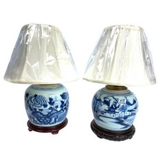 Chinese Blue and White Canton Ginger Jar Lamps Near Pair