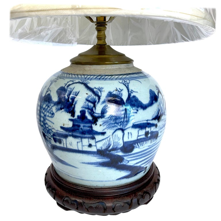 White Canton Ginger Jar Lamps Near Pair, Blue And White Ginger Jar Lamps Uk
