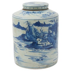 Chinese Blue and White Ceramic Tea Canister, 20th Century
