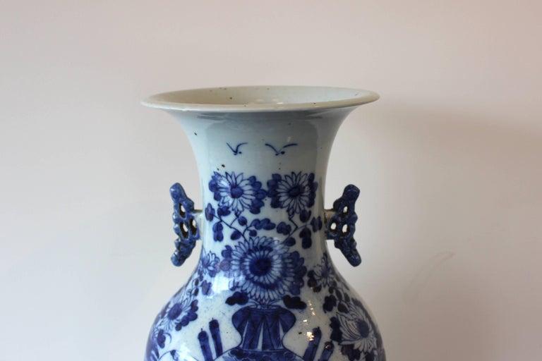 Chinese blue and white ceramic vase.