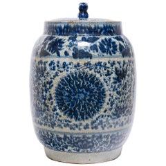 Chinese Blue and White Chrysanthemum Drum Jar