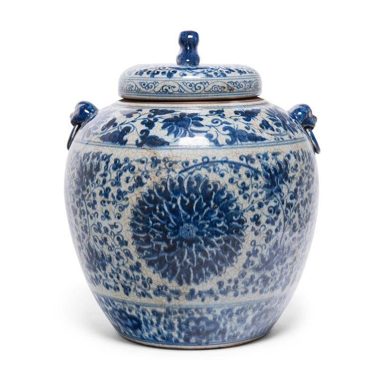 Chinese Export Chinese Blue and White Chrysanthemum Ginger Jar