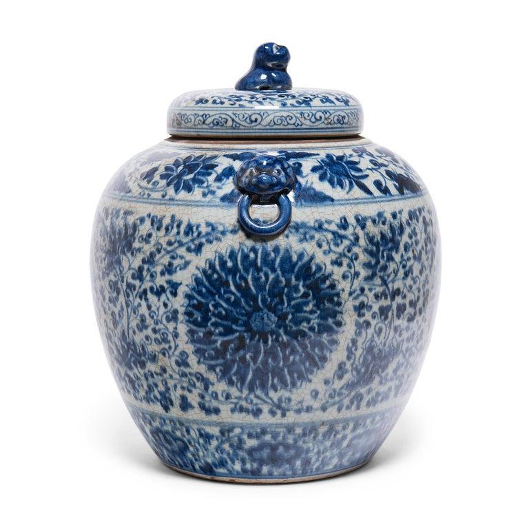 Glazed Chinese Blue and White Chrysanthemum Ginger Jar
