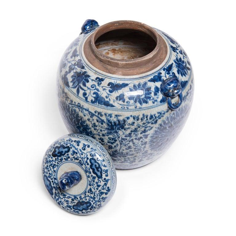 Contemporary Chinese Blue and White Chrysanthemum Ginger Jar