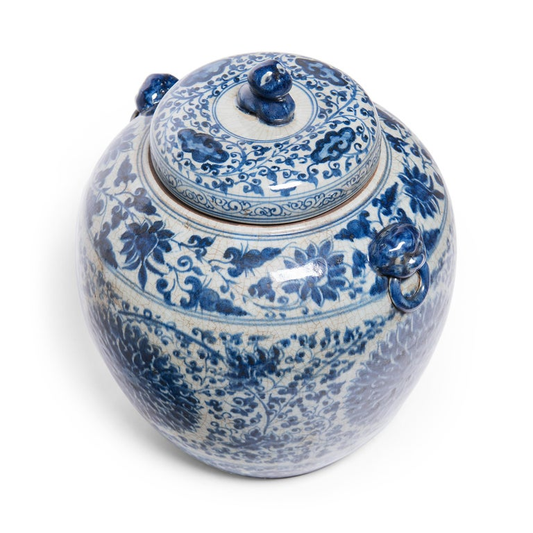 Porcelain Chinese Blue and White Chrysanthemum Ginger Jar