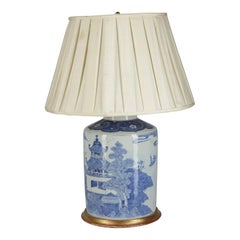 Chinese Blue and White Circular Jar / Lamp, Late 19th Century
