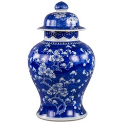 Chinese Blue and White Covered Jar, circa 1860