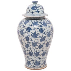 Chinese Blue and White Crane Ginger Jar