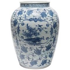 Chinese Blue and White Crane Jar