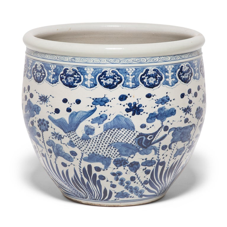 Glazed Chinese Blue and White Fish Bowl For Sale