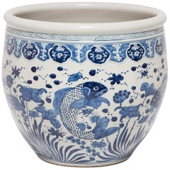 Chinese Blue and White Fish Bowl