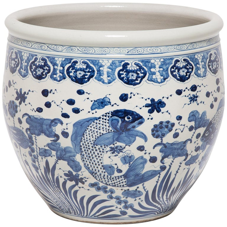 Chinese Blue and White Fish Bowl For Sale