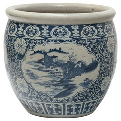 Chinese Blue and White Fish Bowl with Shan Shui Landscape
