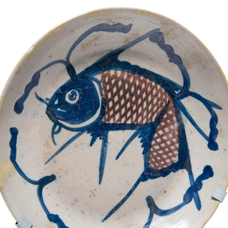 Glazed Chinese Blue and White Fish Plate, circa 1850