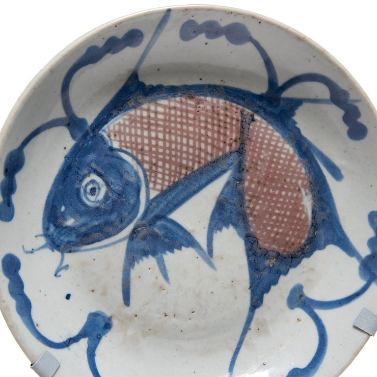 Glazed Chinese Blue and White Fish Plate, circa 1850 For Sale
